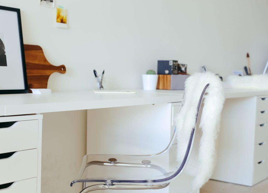 White desk at home